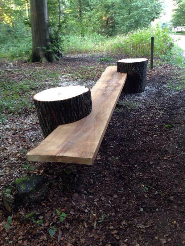 klupa za dvoriste od drvenog panja 4