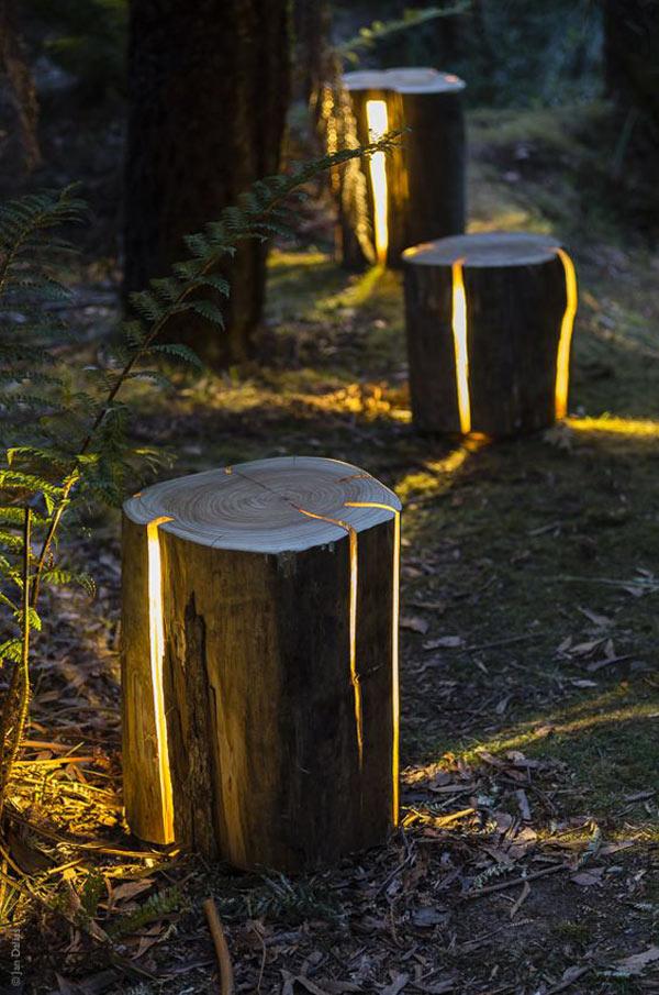 lampa za dvoriste od napuklog panja 16